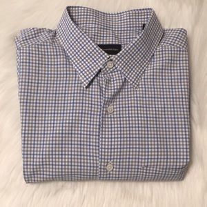 Ermenegildo Zegna white/blue/gray gingham Shirt XL